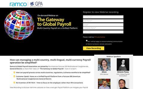 Screenshot of Landing Page ramco.com - Webinar on 'The Gateway to Global Payroll' - captured Aug. 23, 2018
