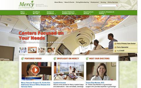 Screenshot of Home Page mdmercy.com - Mercy Medical Center - Mercy Hospital Baltimore, Maryland - Sponsored by the Sisters of Mercy - captured Sept. 19, 2014