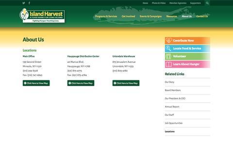 Screenshot of Locations Page islandharvest.org - Locations - Island Harvest - captured Sept. 30, 2014