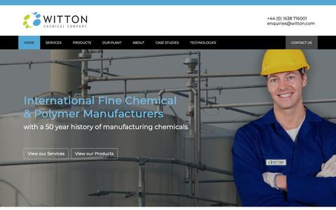 Screenshot of Home Page witton.com - Fine Chemical & Polymer Manufacturers   Witton Chemical Company - captured Oct. 18, 2018