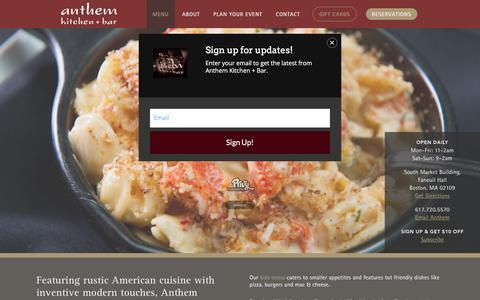 Screenshot of Menu Page anthem-boston.com - Restaurant Faneuil Hall | Boston Best Restaurants | Casual Dining | Anthem | Menu - captured March 5, 2016