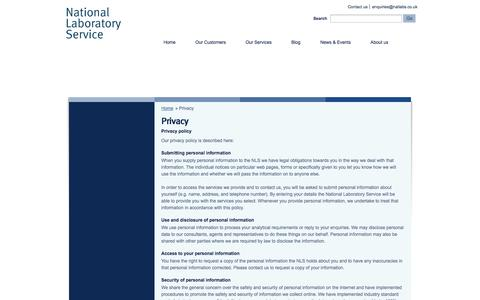 Screenshot of Privacy Page natlabs.co.uk - National Laboratory Service – National Laboratory Service Homepage   » Privacy - captured Oct. 27, 2014