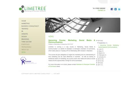 Screenshot of Press Page limetreeconsultancy.co.uk - Limetree, Aberdeen  - News - captured Dec. 10, 2015