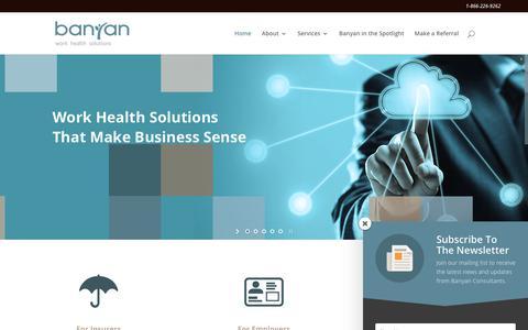 Screenshot of Home Page banyanconsultants.com - Banyan Work Health Solutions - captured Dec. 18, 2018