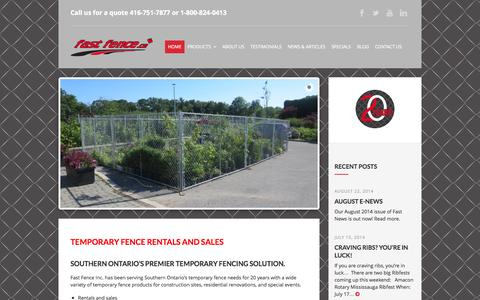 Screenshot of Home Page fastfence.ca - Fast Fence Inc. | SOUTHERN ONTARIO'S PREMIER TEMPORARY FENCING SOLUTION - captured Oct. 5, 2014