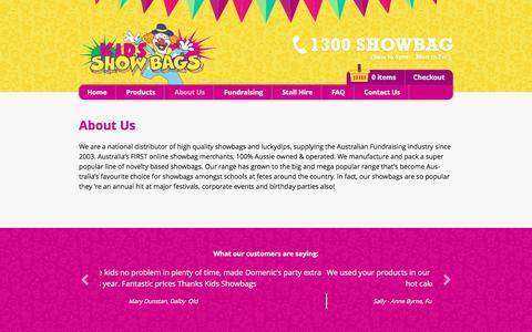 Screenshot of About Page kidsshowbags.com.au - About Us - Kids Show Bags - captured April 11, 2017
