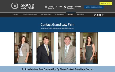 Screenshot of Contact Page grandlawfirm.com - Contact the Baton Rouge and Metairie Attorneys at Grand Law Firm - captured July 17, 2016