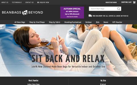 Screenshot of Home Page beanbag.co.nz - Bean Bags NZ | NZ Made Beanbags and Beans | Beanbags & Beyond - captured June 15, 2016