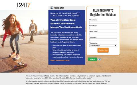 Screenshot of Landing Page 247-inc.com - Webinar Registration: Young Invincibles: Boost Millennial Enrollment to Manage Your Healthcare Costs - captured Nov. 14, 2016