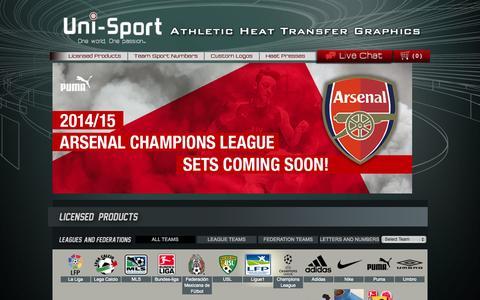 Screenshot of Menu Page uni-sport.com - Licensed Products | Uni-Sport - captured Oct. 7, 2014