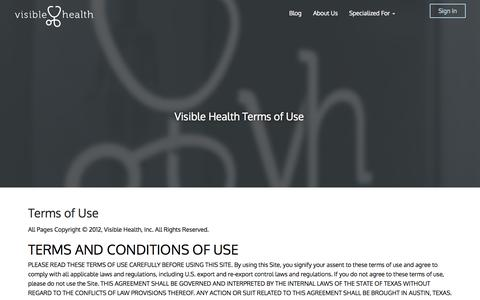 Screenshot of Terms Page visiblehealth.com - Terms of Use | Visible Health - captured Oct. 29, 2014