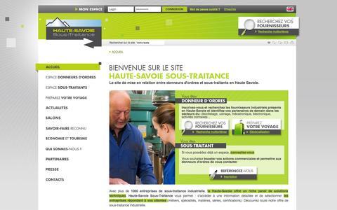 Screenshot of Home Page haute-savoie-sous-traitance.com - Sous-traitance industrielle en Haute-Savoie : décolletage, mécanique précision, mécatronique - CCI Haute-Savoie - Offres et entreprises sous traitants - captured Oct. 10, 2015