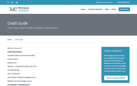 Screenshot of Terms Page mcmortgages.com.au - MC Mortgage Solutions Credit Guide - MC Mortgage Solutions - captured Sept. 29, 2017