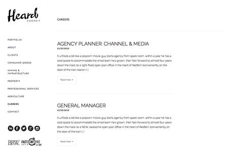 Screenshot of Jobs Page heard.com.au - Careers Archive - Heard Agency - captured July 18, 2018