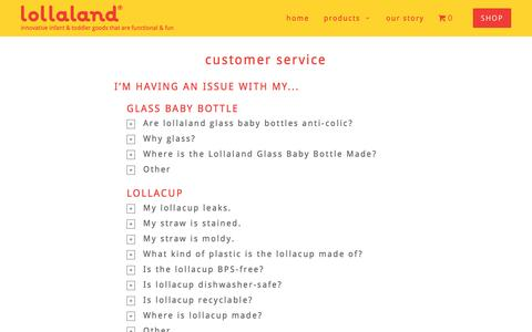 Screenshot of Support Page lollaland.com - Customer Service - lollaland - captured Nov. 13, 2016