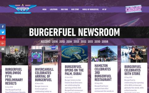 Screenshot of Press Page burgerfuel.com - BurgerFuel - Newsroom - captured July 30, 2016