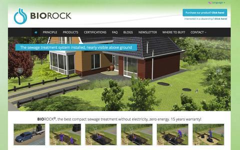 Screenshot of Home Page biorock.com - Waste / Sewage Water Treatment Plant   No electricity   BIOROCK - BIOROCK Waste water treatment - captured Sept. 30, 2014