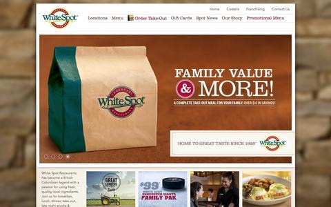 Screenshot of Home Page whitespot.ca - Family Restaurants  | White Spot - captured Jan. 7, 2016