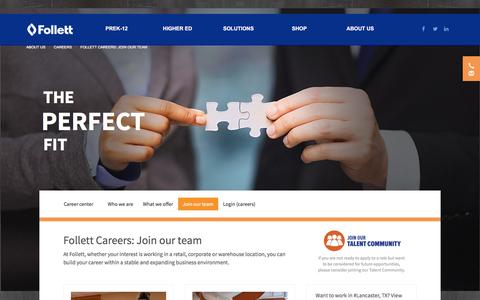 Screenshot of Jobs Page follett.com - Careers - captured April 28, 2017