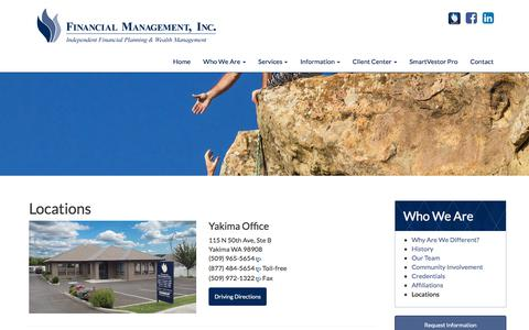 Screenshot of Locations Page fmiwealth.net - Locations   Financial Management, Inc. - captured Oct. 13, 2017