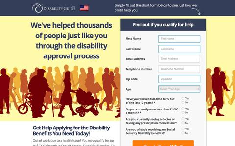 Screenshot of Landing Page disabilityguide.com - Free Social Security Disability Consultation | Disability Guide - captured Feb. 24, 2016