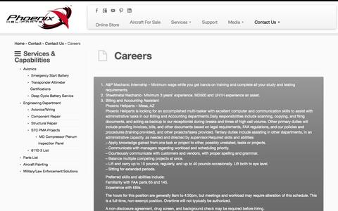 Screenshot of Jobs Page phoenixheliparts.com - Contact Us and Careers | - captured Sept. 29, 2014