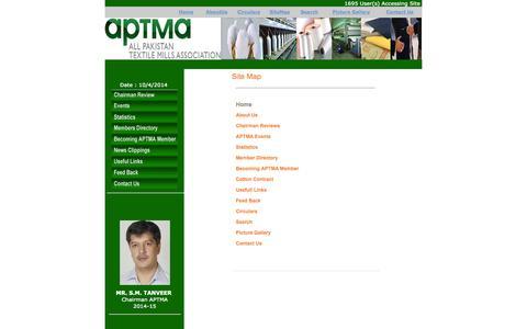 Screenshot of Site Map Page aptma.org.pk - SiteMap - APTMA <<Welcome Pakistan>> - captured Oct. 4, 2014