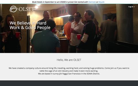 Screenshot of Jobs Page olset.com - Work at OLSET | OLSET: Travel Better - captured Sept. 17, 2014