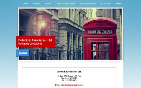 Screenshot of Contact Page dubickconsulting.com - Dubick & Associates - Contact Us - captured Feb. 9, 2016