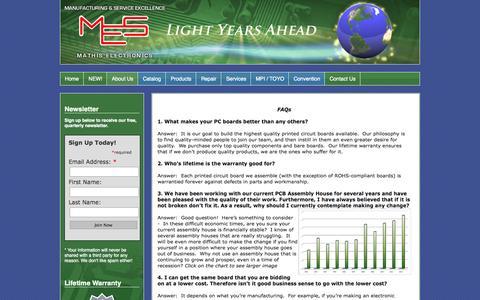 Screenshot of FAQ Page mathiselectronics.com - Mathis Electronics - FAQ - captured Oct. 27, 2014
