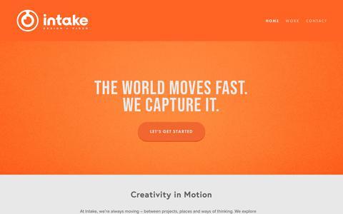 Screenshot of Home Page intakestudios.com - Intake - captured Oct. 12, 2018