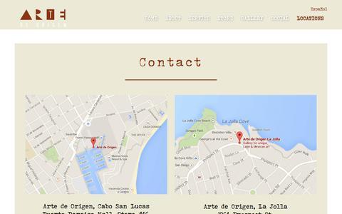 Screenshot of Contact Page Locations Page artedeorigen.com - Contact - Arte de Origen - captured July 26, 2016