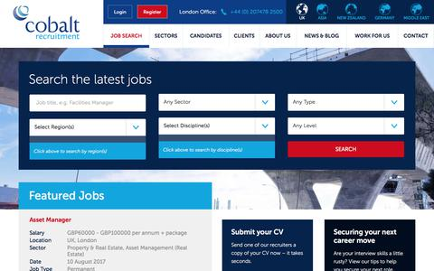 Screenshot of Jobs Page cobaltrecruitment.com - Kickstart Your Job Search! Search for Jobs with Cobalt - captured Aug. 10, 2017