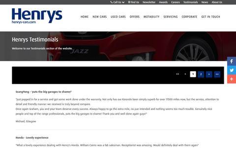 Screenshot of Testimonials Page henrys-cars.com - Testimonials | Glasgow | Henrys Cars - captured Nov. 6, 2016
