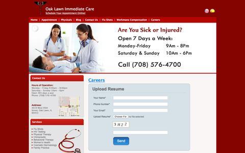 Screenshot of Jobs Page oak-lawn-immediate-care.com - Careers | Oak Lawn Immediate Care - captured July 9, 2018