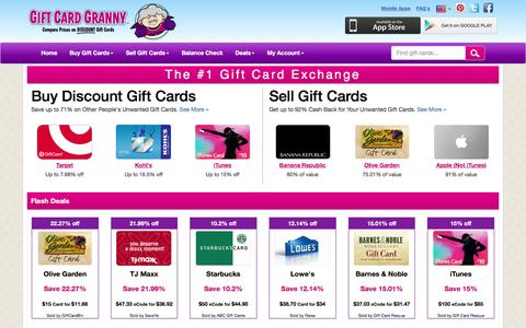 Screenshot of Home Page giftcardgranny.com - Gift Card Exchange & Discount Gift Cards | Save $$$ - captured Jan. 14, 2016