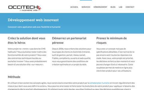Screenshot of Services Page occitech.fr - Développement sur mesure, CakePHP, angularJS et Node.js en agilité - captured Dec. 6, 2016