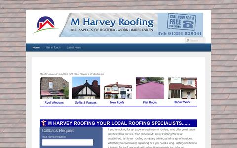 Screenshot of Home Page mharveyroofing.com - - - captured July 19, 2016