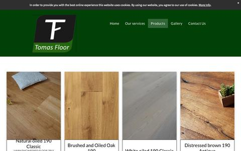 Screenshot of Products Page tomasfloor.com - Products - captured Oct. 19, 2018
