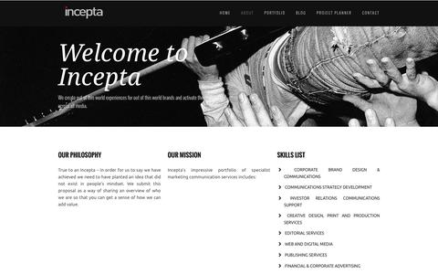 Screenshot of About Page inceptabw.com - Welcome to Incepta - captured Feb. 10, 2016