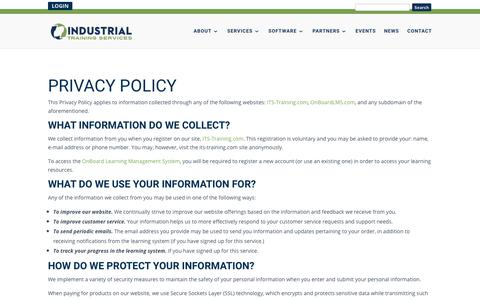 Screenshot of Privacy Page its-training.com - Privacy Policy | Industrial Training Services - captured May 12, 2018