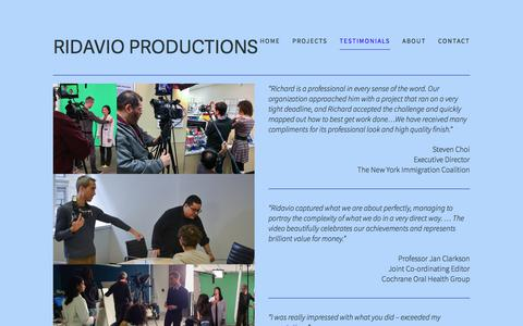 Screenshot of Testimonials Page ridavio.com - TESTIMONIALS — ridavio productions - captured Oct. 26, 2017
