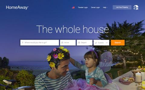 Screenshot of Home Page homeaway.com - HomeAway: Vacation Rentals, Beach Houses, Cabins & More - captured Oct. 27, 2015