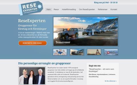 Screenshot of Home Page reseexperten.se - ReseExperten | Researrangör av gruppresor för företag och föreningar i Malmö - captured Sept. 30, 2014