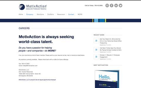 Screenshot of Jobs Page motivaction.com - MotivAction Careers - Performance Improvement - captured Sept. 30, 2014