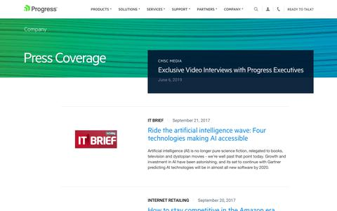Screenshot of Press Page progress.com - Press Coverage - Page 12 - captured July 17, 2019