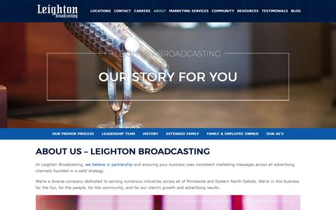 Screenshot of About Page leightonbroadcasting.com - About Leighton Broadcasting - Our Story For You - captured Nov. 20, 2018