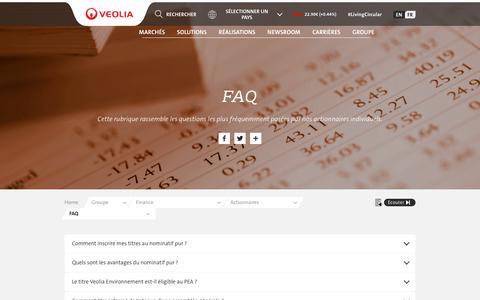 Screenshot of FAQ Page veolia.com - FAQ  | Veolia - captured July 20, 2019