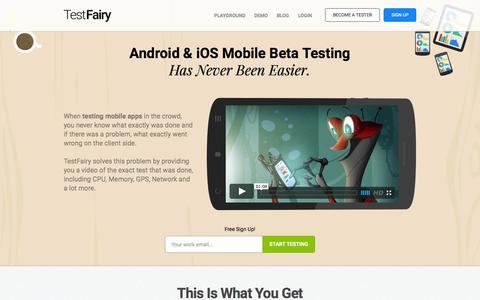 Screenshot of Home Page testfairy.com - TestFairy - Android beta testing - iOS beta testing - captured Nov. 19, 2015