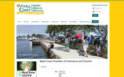 Screenshot of Contact Page myallcoast.org.au - Contact - Myall Coast Chamber of Commerce and Tourism Inc - captured Oct. 7, 2014